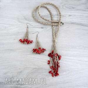 koral czerwony komplet biżuterii, biżuteria czerwony, czerwona