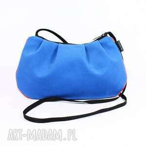 na ramię torebka niebieska , torebka, bawełna, kropki, marszczenie