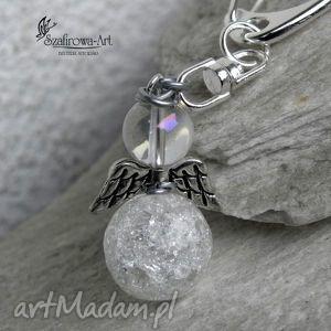 anioł stróż lodowy ii brelok, anioł, krysztal, torebka, klucze, prezent