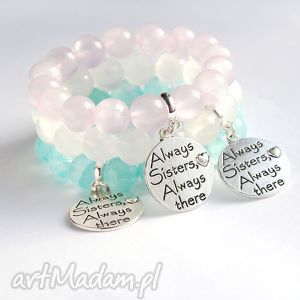 dla siostry - jadeit transparentny light pink, siostra bransoletki biżuteria