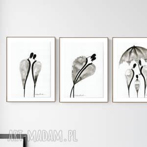 zestaw 3 grafik a4 wykonanych ręcznie, abstrakcja, elegancki minimalizm