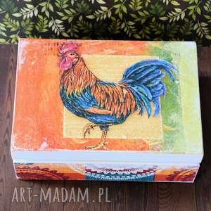 pudełko drewniane - pan kogut, pudełko, energia, drewno, folk, wielkanoc