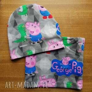 czapka peppa świnka kolorowa plus komin zestaw, peppa, świnka