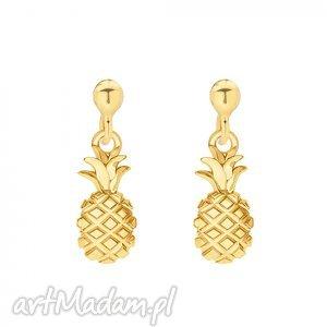 złote kolczyki z ananasami sotho - ananasek, ananasy, summer, modne