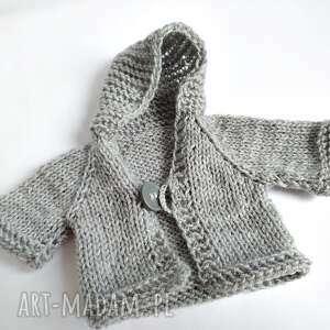 Pluszowy pan miś w szarym sweterku z kapturem - HandMade