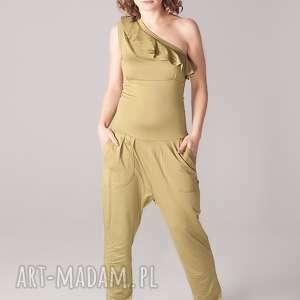 ręcznie wykonane ubrania kombinezon greenery z falbanką