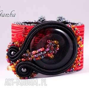 Bransoleta Sutasz Czerwono-czarna - ,sutasz,soutache,bransoleta,