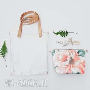 torebka 2 w 1, torebka, plażowa, transparentna, kwiatowa, vintage, listonoszka