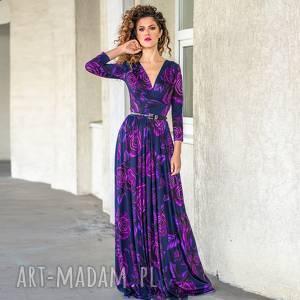 wyjątkowy prezent, elle - magic rose, długa, elastyczna, wieczorowa sukienki