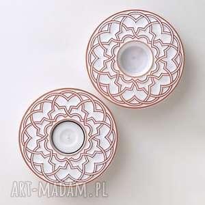 Prezent lampiony geometryczne białe, lampiony, świeczniki, ornament, dekoracja