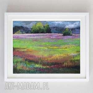 łąka-praca wykonana pastelami formatu a4, łąka, pastele