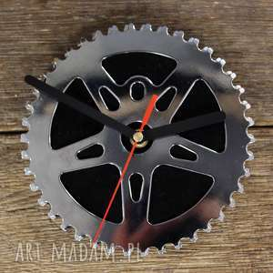 Zegar Black, zegar, wiszący, rowerowy, stalowy, metalowy, industrialny
