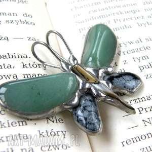 Prezent Wisior motyl: z zielonym awenturynem, prezent-dla-niej, motyw-motyla