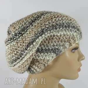 ręcznie robione czapki cieniowana beżowe czapka beanie