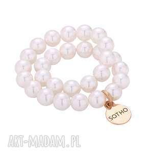 biała gumka do włosów z pereł swarovski elements zawieszką różowego złota