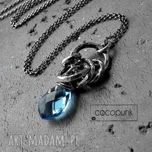 nowoczesny naszyjnik- srebro i kwarc london blue - niebieski, błekitny