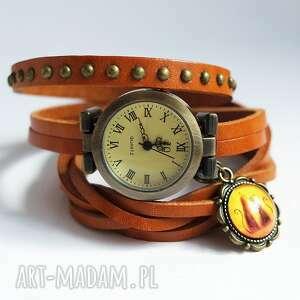 ręcznie robione zegarki zegarek - kotki owijany, skóra, nity
