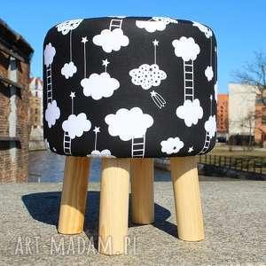 Pufa Czarne Chmurki - 36 cm , puf, pufa, taboret, stołek, ryczka, hocker