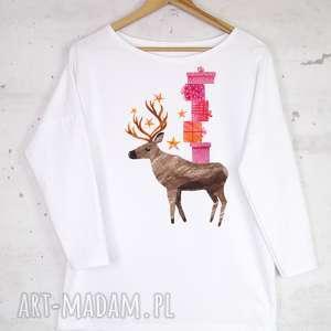 pomysły na upominki świąteczne RENIFER bluzka bawełniana biała z nadrukiem S/M
