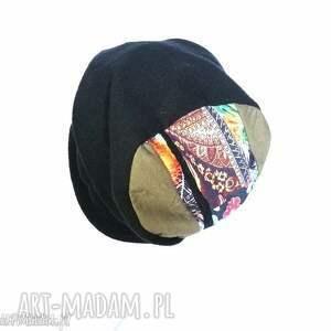 czapki czapka czarna zimowa ciepła patchwork damska -box p1- lekko