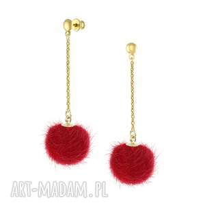 kolczyki z czerwonym pomponem - i ♥ pom poms - długie kolczyki