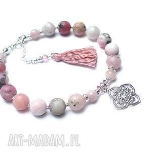BOHO /antique pink/ - bransoletka, srebro, opal, kamień-słoneczny, swarovski, chwost