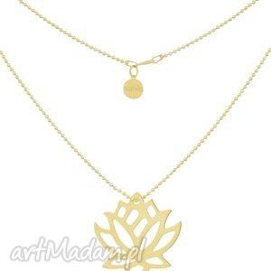 Złoty naszyjnik łańcuszek z dużym kwiatem lotosu, lotos, lotosem, symbol