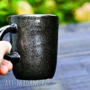 duży kubek - gwiezdny pył - mieniący się brązowo szary 350 ml, ceramika
