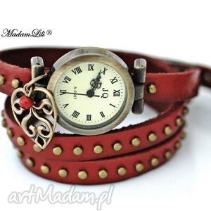 skórzany zegarek kochankowie, skóra, lisć czerwony, zagarek