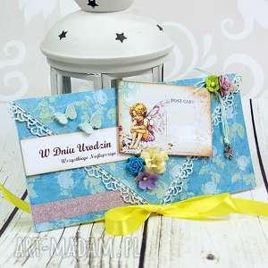 scrapbooking kartki kartka urodzinowa -elfy, kartka, kopertówka, elfy, wróżki