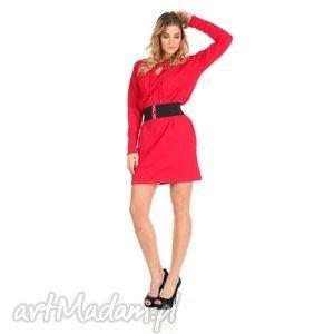 46-sukienka sznurowany dekolt,czerwona,rękaw długi,pasek , lalu, sukienka, dzianina