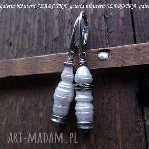 perły industrialne kolczyki z naturalnych pereł i srebra, perła, naturalna