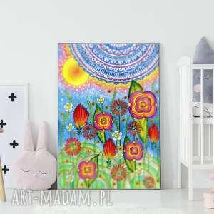 łąka 50x70, łąka, kwiaty, abstrakcja, obraz, rysunek, plakat
