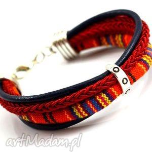 bransoletka boho joyee masayo orange simple , bransoletka, tkanina, rzemień, sznurek