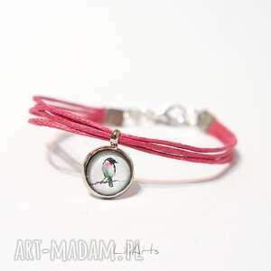Bransoletka - ptaszek sznureczki, różowa liliarts bransoletka