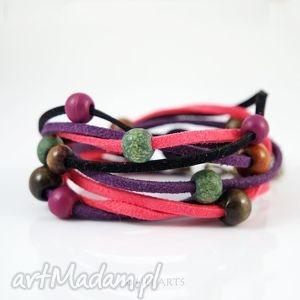 bransoletka - czarno różowa rzemienie zamszowe, bransoletka, zamszowe