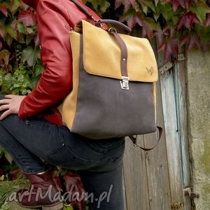 na ramię plecak/teczka żółto-szara, plecak, torba, teczka, zamsz, skórzany
