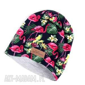 Prezent Flamingi czapka kolorowa beanie , czapka, flamingi, beanie, kolorowa-czapka