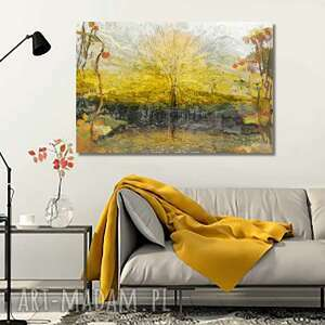 obraz na płótnie drzewa słońca 120x80, drzewa, obrazy, złote