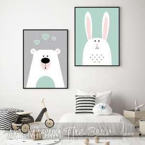 zestaw plakatów dla dzieci miś i króliś a3, miś, królik, zestaw, mięta, plakaty