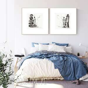 zestaw 2 grafik 30x30 cm wykonanych ręcznie, abstrakcja, obraz do salonu