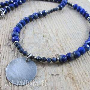 lapis lazuli z szafirem - naszyjnik, srebro, szafir