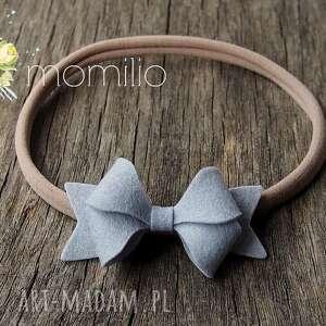 butterfly bow opaska do włosów jasny szary, opaska, niemowlę, baby, kokardka, filc