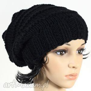 czapka ręcznie dziergana czarna, czapka, dziergana, nadrutach, ręczniedziergana