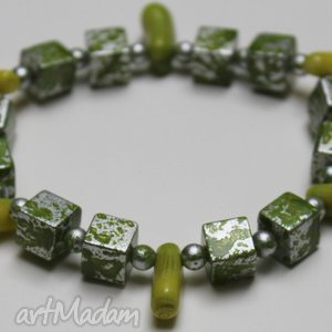 bransoletki bransoletka- zielono srebrna , bransoletka, babmbus
