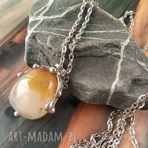 wisiorki naszyjnik wisiorek z łańcuszkiem, agat bryłka, kamieni