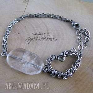 wisiorki bransoletka z sercem, kryształ górski, wire wrapping, bransoletka