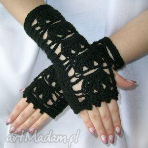 ażurowe, czarne mitenki - mitenki, rękawiczki, ocieplacze
