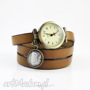 Prezent Bransoletka, zegarek - Biała sowa brązowy, orzechowy, zegarek, bransoletka
