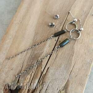 wiszące długie kolczyki z turmalinem, srebro, turmalin, surowa biżuteria